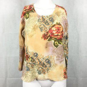 Elizabeth Vintage 1990s Floral Cashmere Sweater L